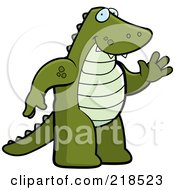 Royalty Free RF Clipart Illustration Of A Friendly Alligator Standing And Waving by Cory Thoman