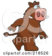 Royalty Free RF Clipart Illustration Of A Boar Walking Upright