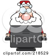 Royalty Free RF Clipart Illustration Of A Plump Santa Using A Desktop Computer