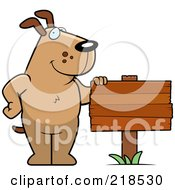 Royalty Free RF Clipart Illustration Of A Brown Dog Standing Beside A Blank Wood Sign