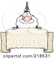 Royalty Free RF Clipart Illustration Of A Plump Old Wizard Looking Over A Blank Banner