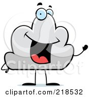 Royalty Free RF Clipart Illustration Of A Happy Cloud Character Waving