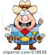 Royalty Free RF Clipart Illustration Of A Plump Sheriff With An Idea
