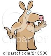 Royalty Free RF Clipart Illustration Of A Friendly Aardvark Standing And Waving by Cory Thoman