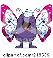 Royalty Free RF Clipart Illustration Of A Happy Purple Butterfly Standing by Cory Thoman