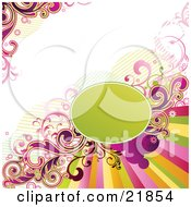 Clipart Picture Illustration Of A Colorful Rainbow Around A Green Circle With Scrolls On A White Background