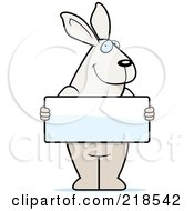 Royalty Free RF Clipart Illustration Of A Rabbit Standing Upright And Holding A Blank Sign Board