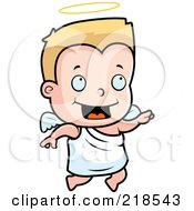 Royalty Free RF Clipart Illustration Of A Blond Angel Toddler Flying