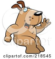 Friendly Dog Sitting And Waving by Cory Thoman