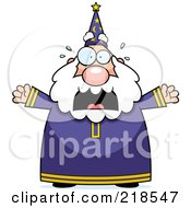 Royalty Free RF Clipart Illustration Of A Plump Old Wizard Freaking Out