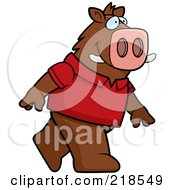 Royalty Free RF Clipart Illustration Of A Boar Wearing A Red Shirt And Walking Upright