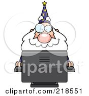 Royalty Free RF Clipart Illustration Of A Plump Old Wizard Using A Desktop Computer