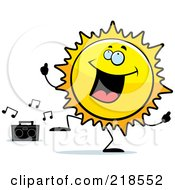 Royalty Free RF Clipart Illustration Of A Happy Sun Character Dancing To Music by Cory Thoman