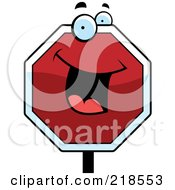 Royalty Free RF Clipart Illustration Of A Happy Stop Sign Character