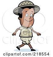 Royalty Free RF Clipart Illustration Of A Black Safari Boy Walking
