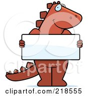 Royalty Free RF Clipart Illustration Of A Dinosaur Standing Upright And Holding A Blank Sign Board