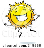Royalty Free RF Clipart Illustration Of A Happy Sun Character Jumping by Cory Thoman