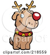 Royalty Free RF Clipart Illustration Of A Reindeer Dog Sitting by Cory Thoman