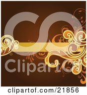 Clipart Picture Illustration Of A Blank Orange Text Bar With Leavy Vines On A Brown Background