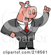 Royalty Free RF Clipart Illustration Of A Business Pig With An Idea