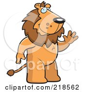 Royalty Free RF Clipart Illustration Of A Friendly Lion Standing And Waving by Cory Thoman