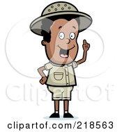 Royalty Free RF Clipart Illustration Of A Black Safari Boy With An Idea