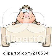 Royalty Free RF Clipart Illustration Of A Plump Safari Man Over A Blank Banner