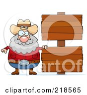 Royalty Free RF Clipart Illustration Of A Plump Prospector By Blank Wood Signs