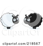Royalty Free RF Clipart Illustration Of A Digital Collage Of Fluffy White And Black Sheep
