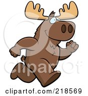 Royalty Free RF Clipart Illustration Of A Moose Running Upright