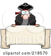 Royalty Free RF Clipart Illustration Of A Plump Pirate Looking Over A Blank Banner