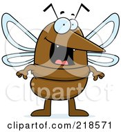 Royalty Free RF Clipart Illustration Of A Happy Mosquito Standing by Cory Thoman