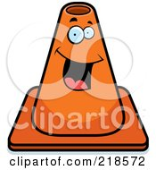 Royalty Free RF Clipart Illustration Of A Happy Construction Cone Smiling by Cory Thoman