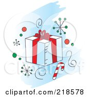 Royalty Free RF Clipart Illustration Of A White And Red Gift Box With Snowflakes And A Candy Cane