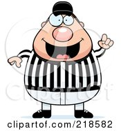 Royalty Free RF Clipart Illustration Of A Plump Referee With An Idea by Cory Thoman