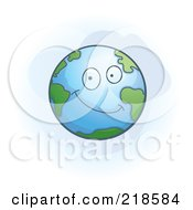 Royalty Free RF Clipart Illustration Of A Happy Earth Character by Cory Thoman
