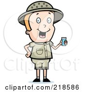 Royalty Free RF Clipart Illustration Of A Blond Safari Boy Holding A Cup Of Water