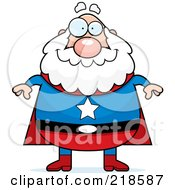 Royalty Free RF Clipart Illustration Of A Plump Old Super Hero by Cory Thoman