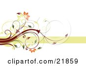 Clipart Picture Illustration Of A Flowering White And Green Vine With Orange Blooms Over A Green Line On A White Background