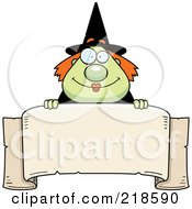 Royalty Free RF Clipart Illustration Of A Plump Green Witch Looking Over A Blank Banner