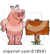 Royalty Free RF Clipart Illustration Of A Pig Standing Beside A Blank Wood Sign