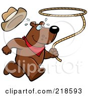 Royalty Free RF Clipart Illustration Of A Rodeo Bear Running And Swinging A Lasso