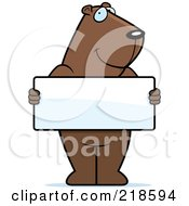 Royalty Free RF Clipart Illustration Of A Groundhog Standing Upright And Holding A Blank Sign Board by Cory Thoman