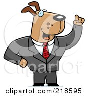 Royalty Free RF Clipart Illustration Of A Business Dog With An Idea by Cory Thoman