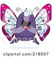 Royalty Free RF Clipart Illustration Of A Purple Butterfly Running by Cory Thoman