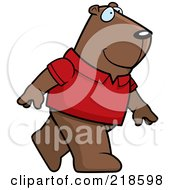 Royalty Free RF Clipart Illustration Of A Groundhog Wearing A Red Shirt And Walking Upright by Cory Thoman