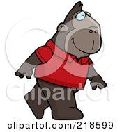 Ape Wearing A Red Shirt And Walking Upright by Cory Thoman