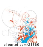 Clipart Picture Illustration Of A White Background With Gray And Blue Splatters And Orange Vines And Circles