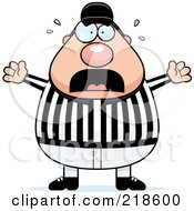 Royalty Free RF Clipart Illustration Of A Plump Referee Freaking Out