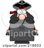 Royalty Free RF Clipart Illustration Of A Plump Pirate Using A Desktop Computer by Cory Thoman